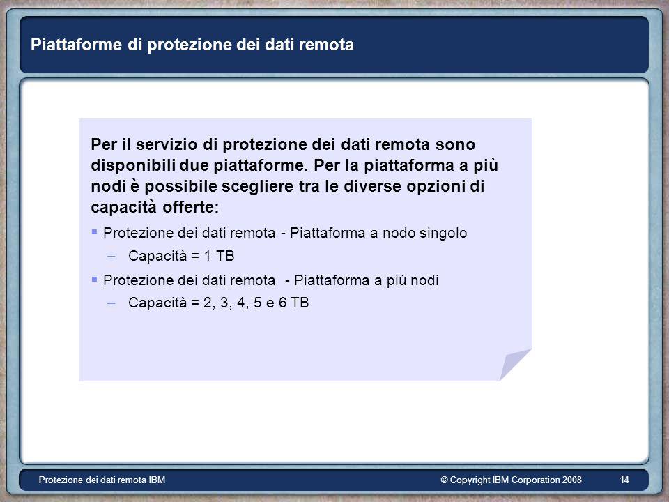 © Copyright IBM Corporation 2008Protezione dei dati remota IBM 14 Piattaforme di protezione dei dati remota Per il servizio di protezione dei dati remota sono disponibili due piattaforme.