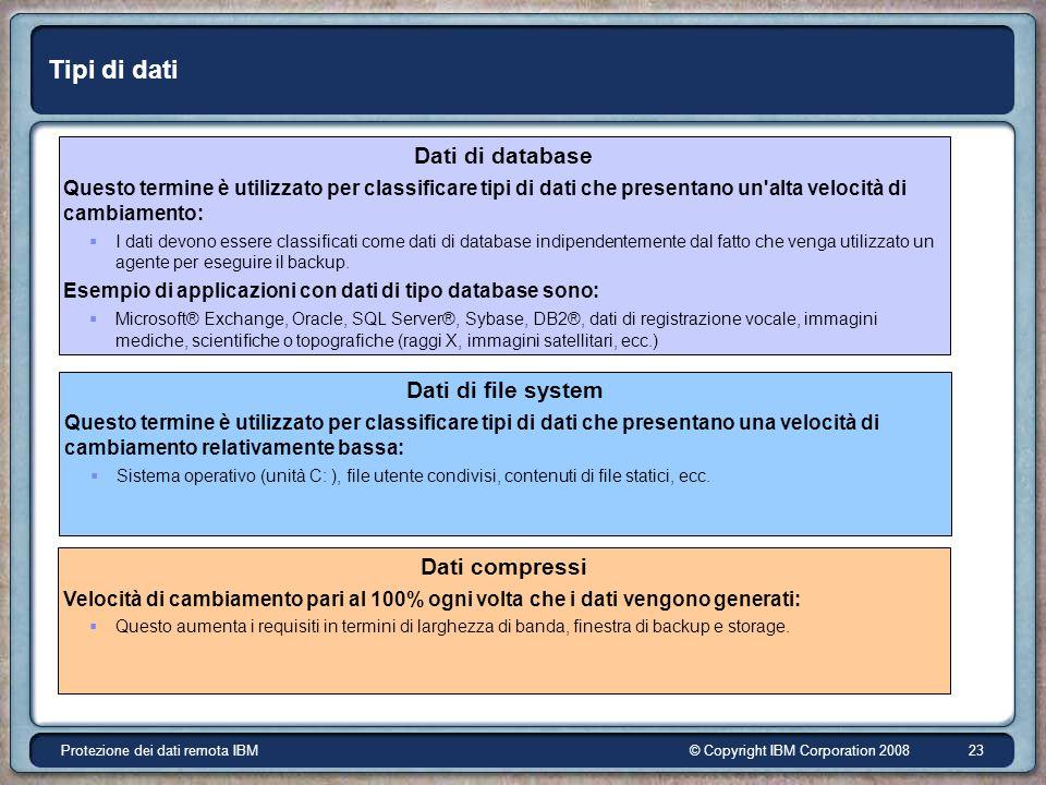 © Copyright IBM Corporation 2008Protezione dei dati remota IBM 23 Tipi di dati Dati di database Questo termine è utilizzato per classificare tipi di dati che presentano un alta velocità di cambiamento: I dati devono essere classificati come dati di database indipendentemente dal fatto che venga utilizzato un agente per eseguire il backup.