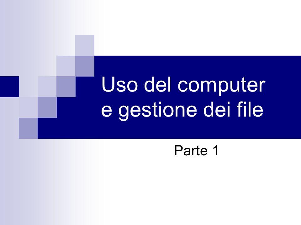 Gestione dei files – struttura gerarchica Il disco C: contiene 3 cartelle: - Documents and Settings - Programmi - Windows La cartella Documents and Settings contiene due sottocartelle: Administrator Antonio