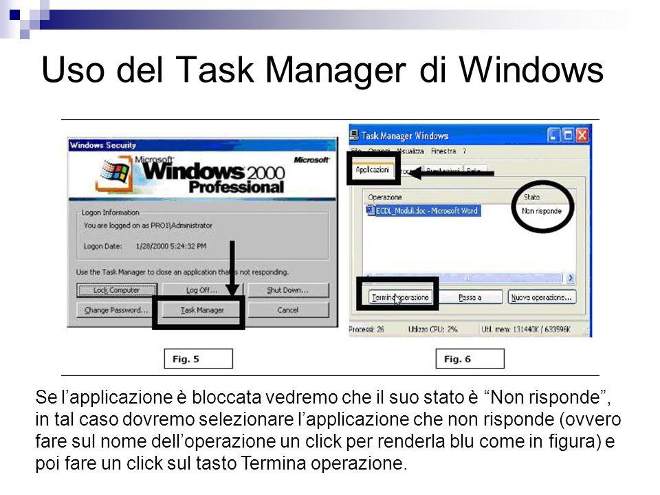 Uso del Task Manager di Windows Se lapplicazione è bloccata vedremo che il suo stato è Non risponde, in tal caso dovremo selezionare lapplicazione che