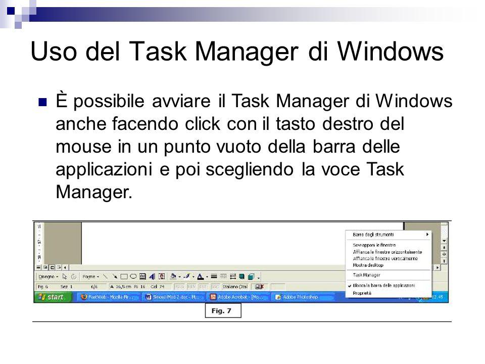 Uso del Task Manager di Windows È possibile avviare il Task Manager di Windows anche facendo click con il tasto destro del mouse in un punto vuoto del