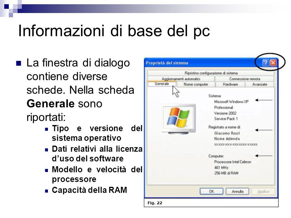 Informazioni di base del pc La finestra di dialogo contiene diverse schede. Nella scheda Generale sono riportati: Tipo e versione del sistema operativ