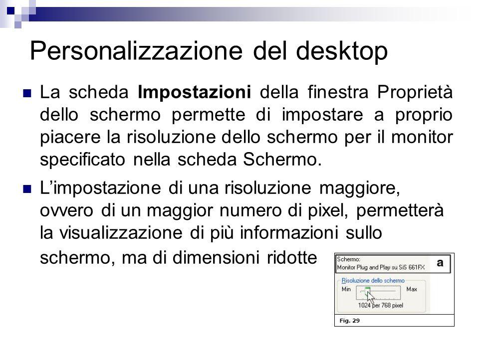 Personalizzazione del desktop La scheda Impostazioni della finestra Proprietà dello schermo permette di impostare a proprio piacere la risoluzione del