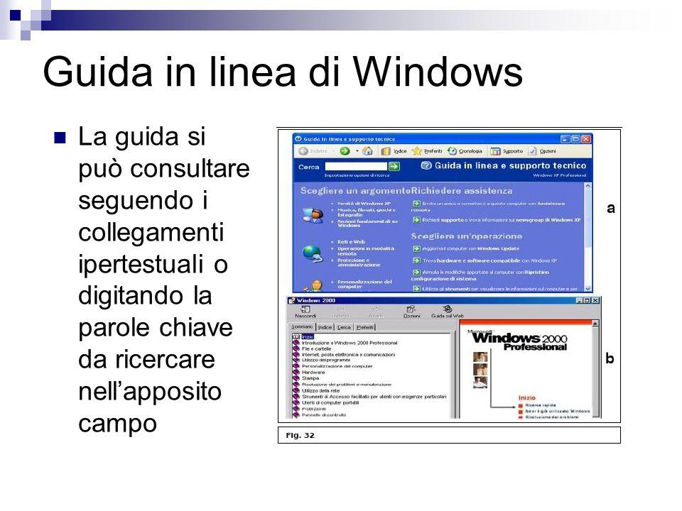Guida in linea di Windows La guida si può consultare seguendo i collegamenti ipertestuali o digitando la parole chiave da ricercare nellapposito campo