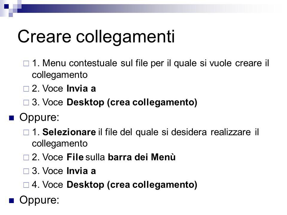 Creare collegamenti 1. Menu contestuale sul file per il quale si vuole creare il collegamento 2. Voce Invia a 3. Voce Desktop (crea collegamento) Oppu