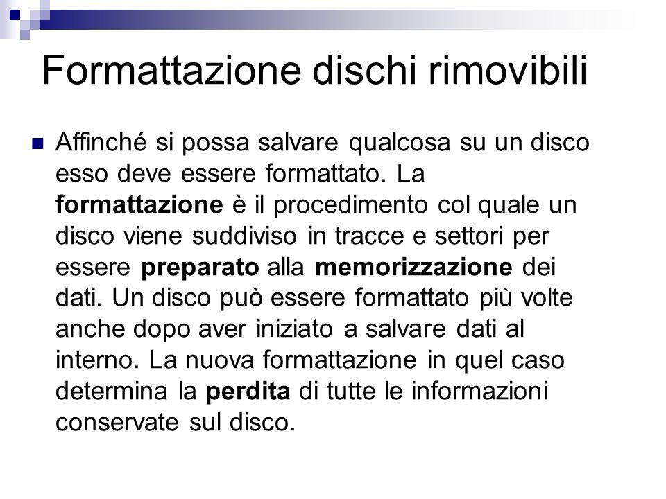 Formattazione dischi rimovibili Affinché si possa salvare qualcosa su un disco esso deve essere formattato. La formattazione è il procedimento col qua