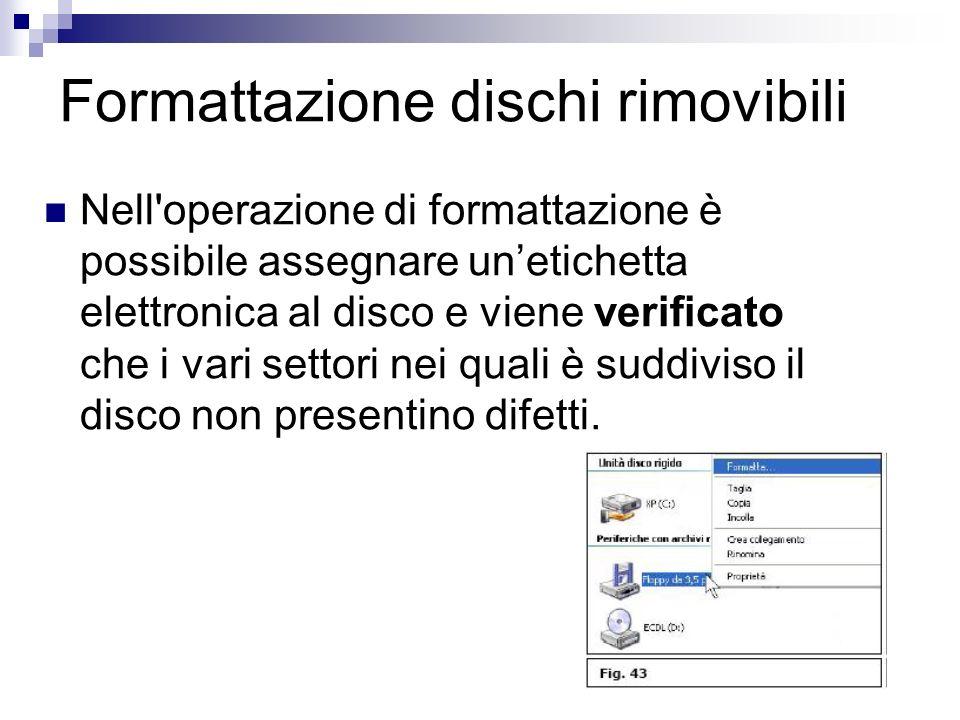 Formattazione dischi rimovibili Nell'operazione di formattazione è possibile assegnare unetichetta elettronica al disco e viene verificato che i vari