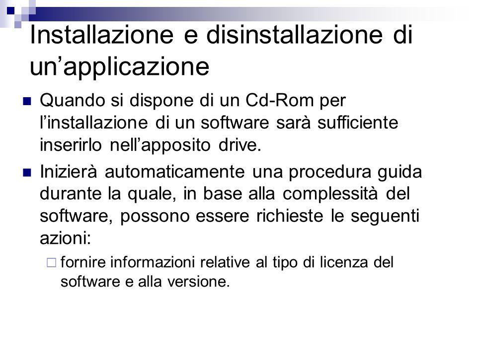 Installazione e disinstallazione di unapplicazione Quando si dispone di un Cd-Rom per linstallazione di un software sarà sufficiente inserirlo nellapp