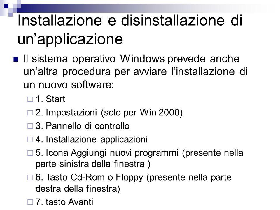 Installazione e disinstallazione di unapplicazione Il sistema operativo Windows prevede anche unaltra procedura per avviare linstallazione di un nuovo