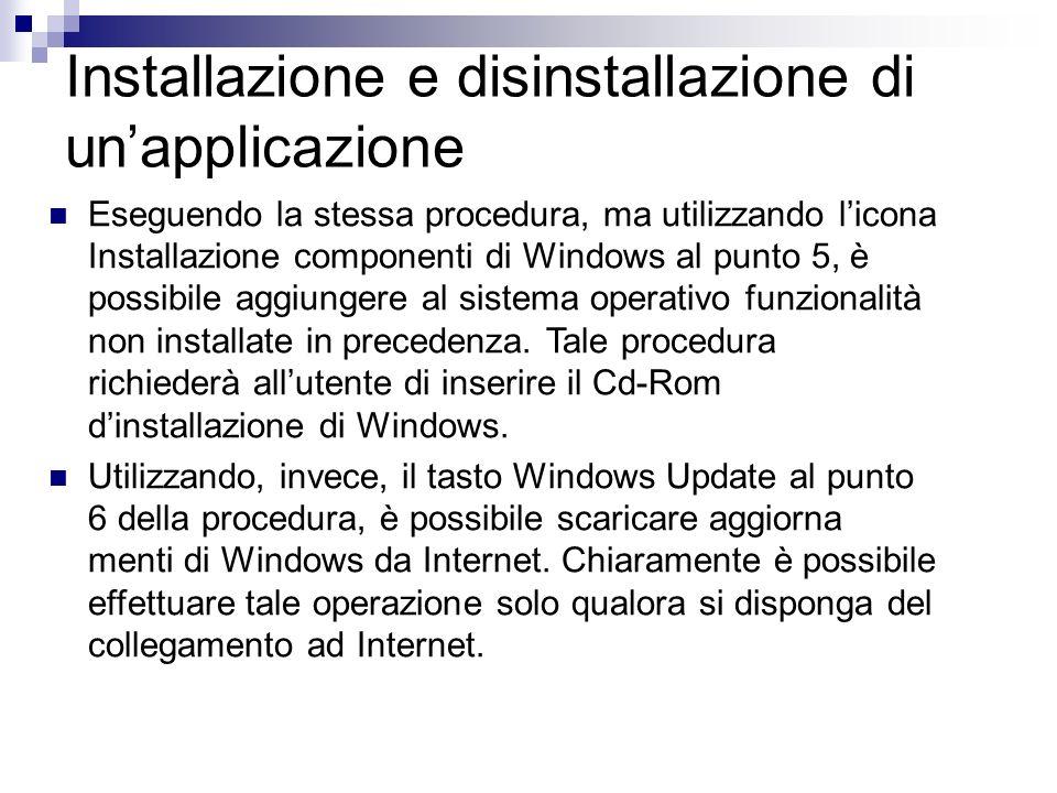 Installazione e disinstallazione di unapplicazione Eseguendo la stessa procedura, ma utilizzando licona Installazione componenti di Windows al punto 5