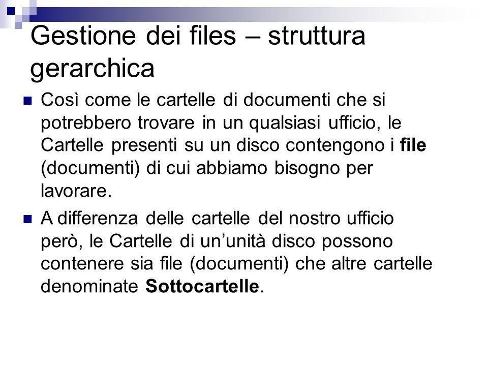 Gestione dei files – struttura gerarchica Così come le cartelle di documenti che si potrebbero trovare in un qualsiasi ufficio, le Cartelle presenti s