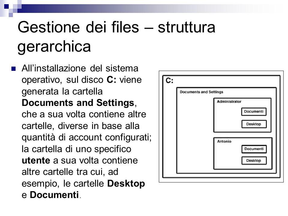 Gestione dei files – struttura gerarchica Allinstallazione del sistema operativo, sul disco C: viene generata la cartella Documents and Settings, che
