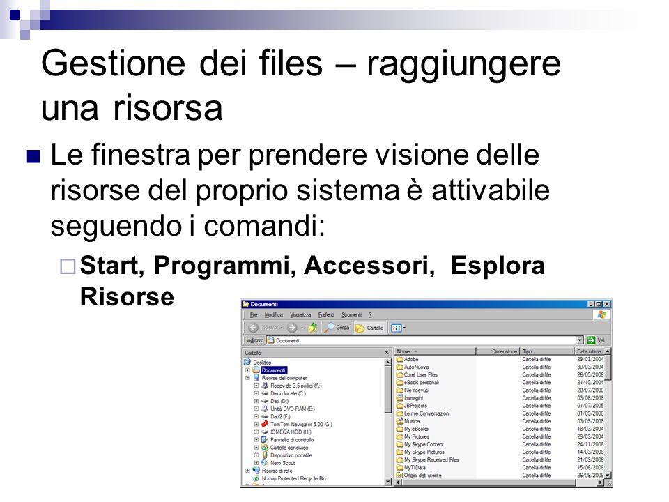 Gestione dei files – raggiungere una risorsa Le finestra per prendere visione delle risorse del proprio sistema è attivabile seguendo i comandi: Start
