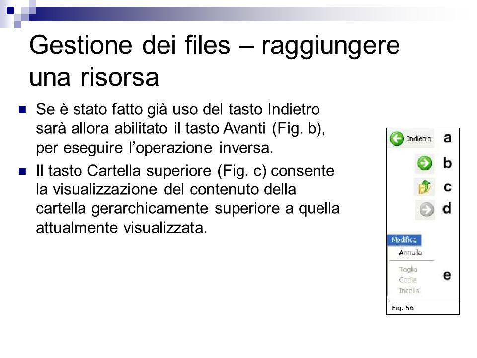 Gestione dei files – raggiungere una risorsa Se è stato fatto già uso del tasto Indietro sarà allora abilitato il tasto Avanti (Fig. b), per eseguire