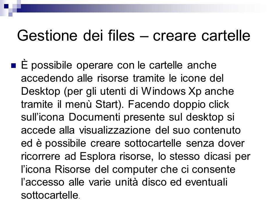 È possibile operare con le cartelle anche accedendo alle risorse tramite le icone del Desktop (per gli utenti di Windows Xp anche tramite il menù Star