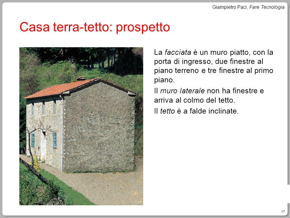 17 Giampietro Paci, Fare Tecnologia Casa terra-tetto: prospetto La facciata è un muro piatto, con la porta di ingresso, due finestre al piano terreno