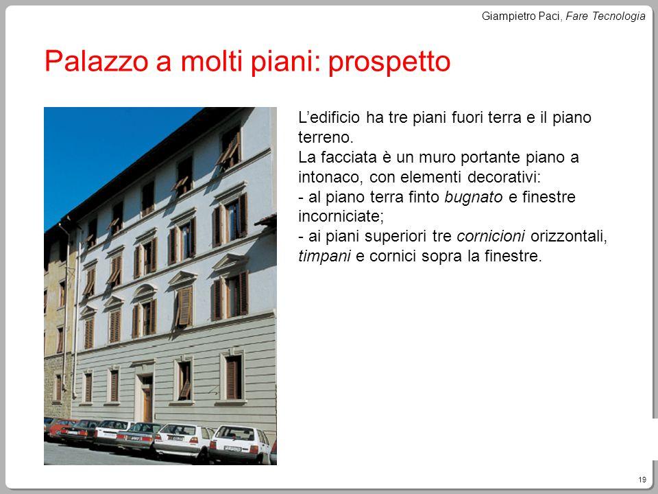 19 Giampietro Paci, Fare Tecnologia Palazzo a molti piani: prospetto Ledificio ha tre piani fuori terra e il piano terreno. La facciata è un muro port