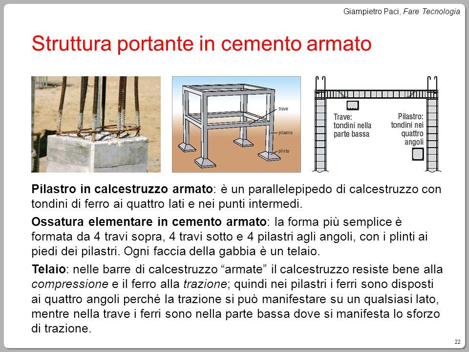 22 Giampietro Paci, Fare Tecnologia Struttura portante in cemento armato Pilastro in calcestruzzo armato: è un parallelepipedo di calcestruzzo con ton