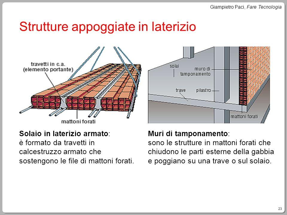 23 Giampietro Paci, Fare Tecnologia Strutture appoggiate in laterizio Solaio in laterizio armato: è formato da travetti in calcestruzzo armato che sos