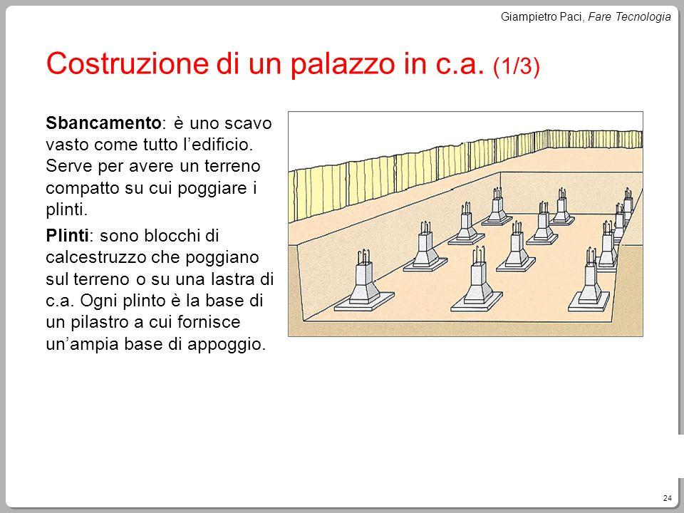 24 Giampietro Paci, Fare Tecnologia Costruzione di un palazzo in c.a. (1/3) Sbancamento: è uno scavo vasto come tutto ledificio. Serve per avere un te