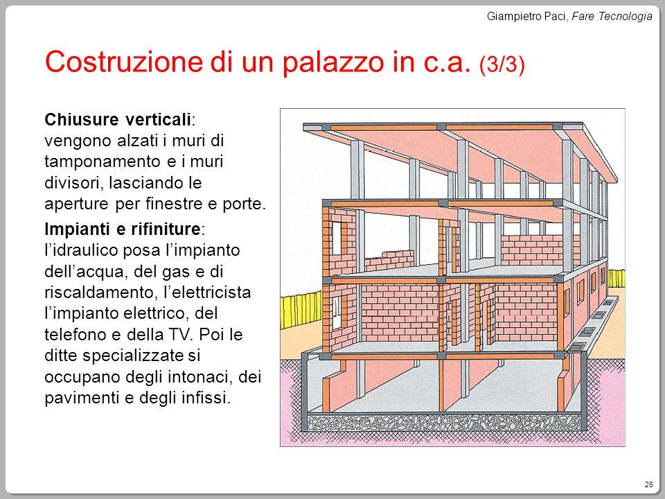 26 Giampietro Paci, Fare Tecnologia Costruzione di un palazzo in c.a. (3/3) Chiusure verticali: vengono alzati i muri di tamponamento e i muri divisor