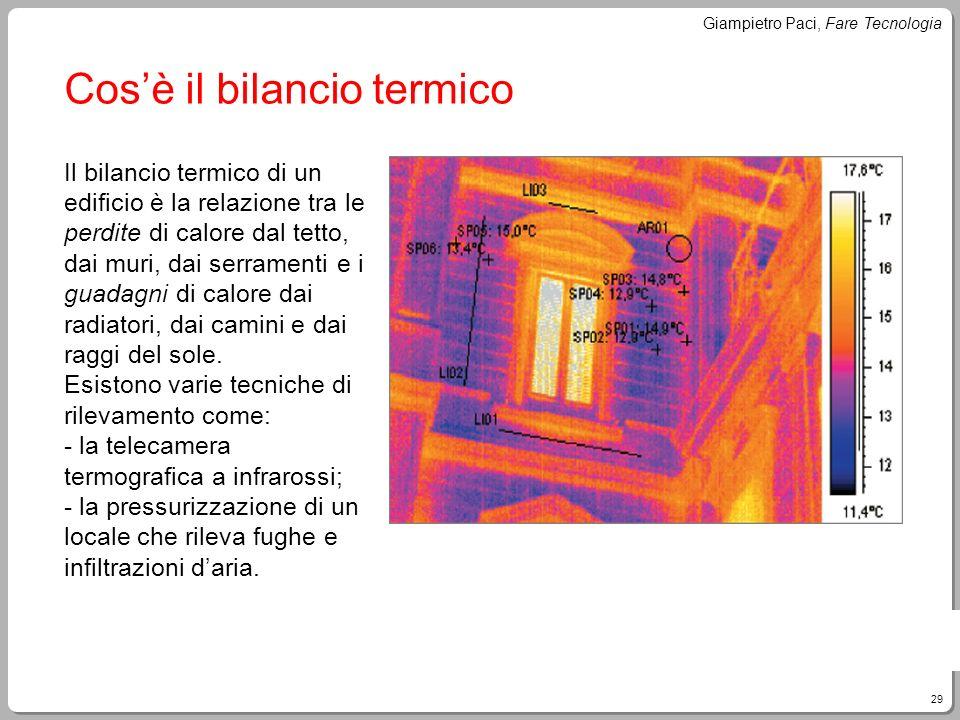 29 Giampietro Paci, Fare Tecnologia Cosè il bilancio termico Il bilancio termico di un edificio è la relazione tra le perdite di calore dal tetto, dai