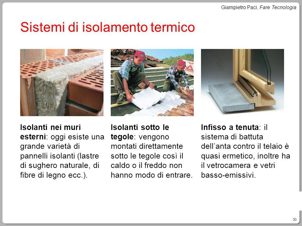 30 Giampietro Paci, Fare Tecnologia Sistemi di isolamento termico Isolanti nei muri esterni: oggi esiste una grande varietà di pannelli isolanti (last