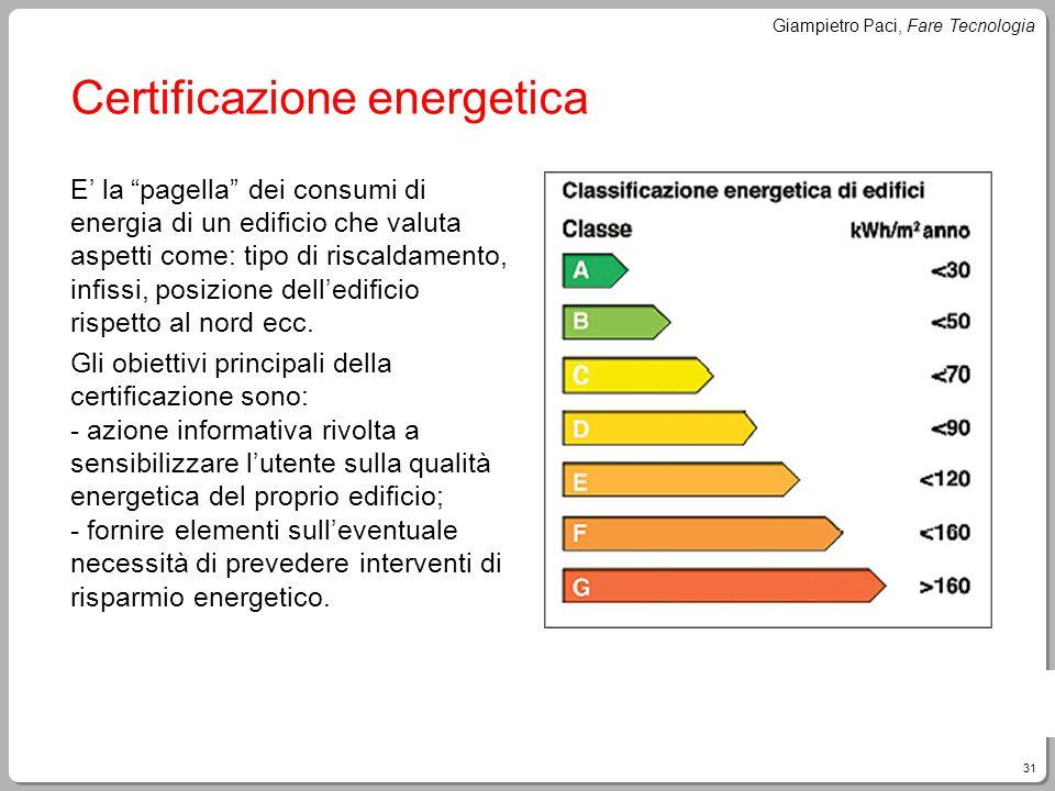 31 Giampietro Paci, Fare Tecnologia Certificazione energetica E la pagella dei consumi di energia di un edificio che valuta aspetti come: tipo di risc