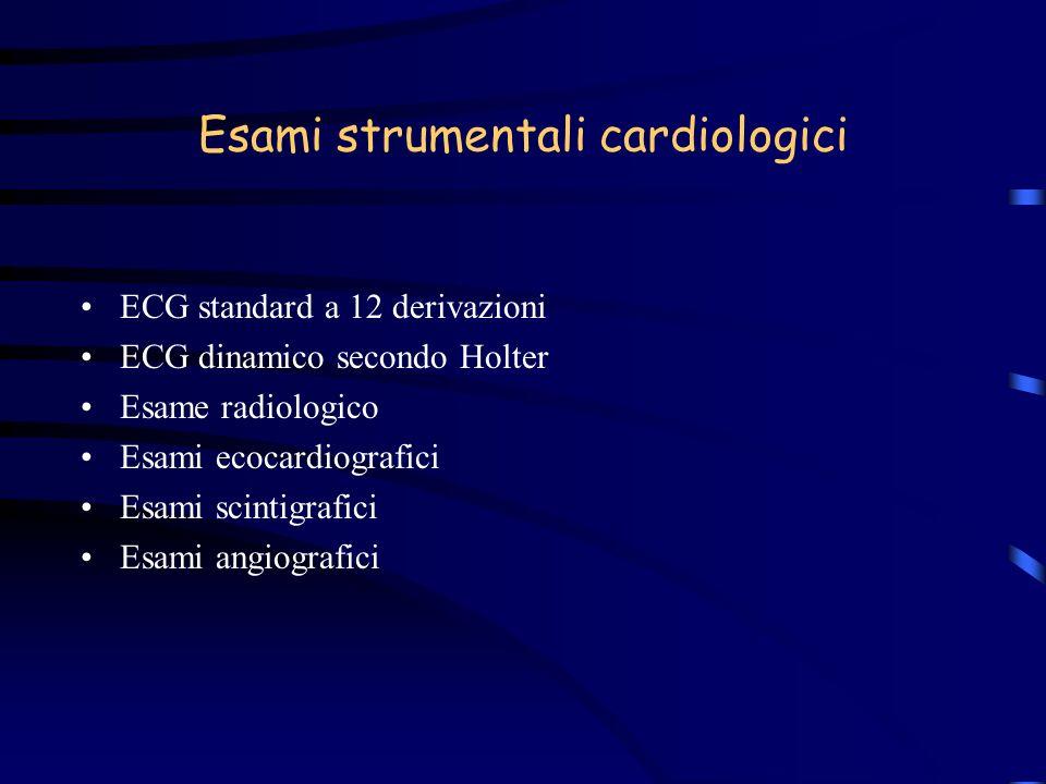 Esami strumentali cardiologici ECG standard a 12 derivazioni ECG dinamico secondo Holter Esame radiologico Esami ecocardiografici Esami scintigrafici