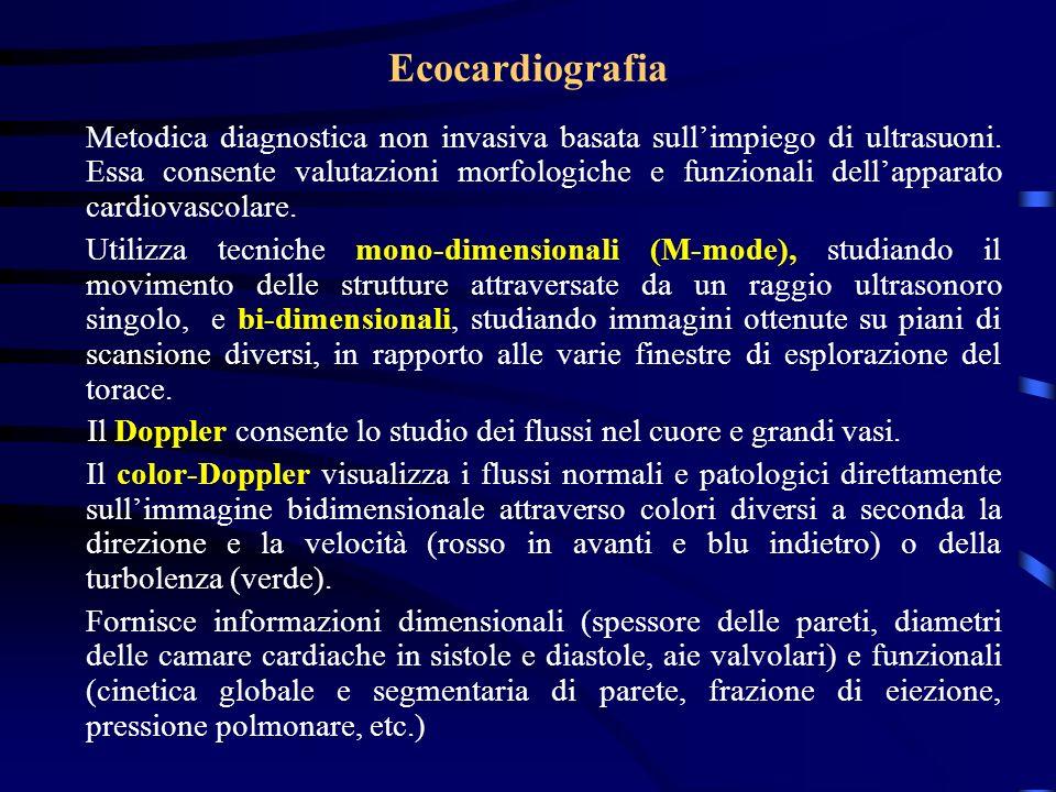 Ecocardiografia Metodica diagnostica non invasiva basata sullimpiego di ultrasuoni. Essa consente valutazioni morfologiche e funzionali dellapparato c