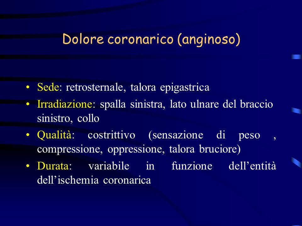 Dolore coronarico (anginoso) Sede: retrosternale, talora epigastrica Irradiazione: spalla sinistra, lato ulnare del braccio sinistro, collo Qualità: c