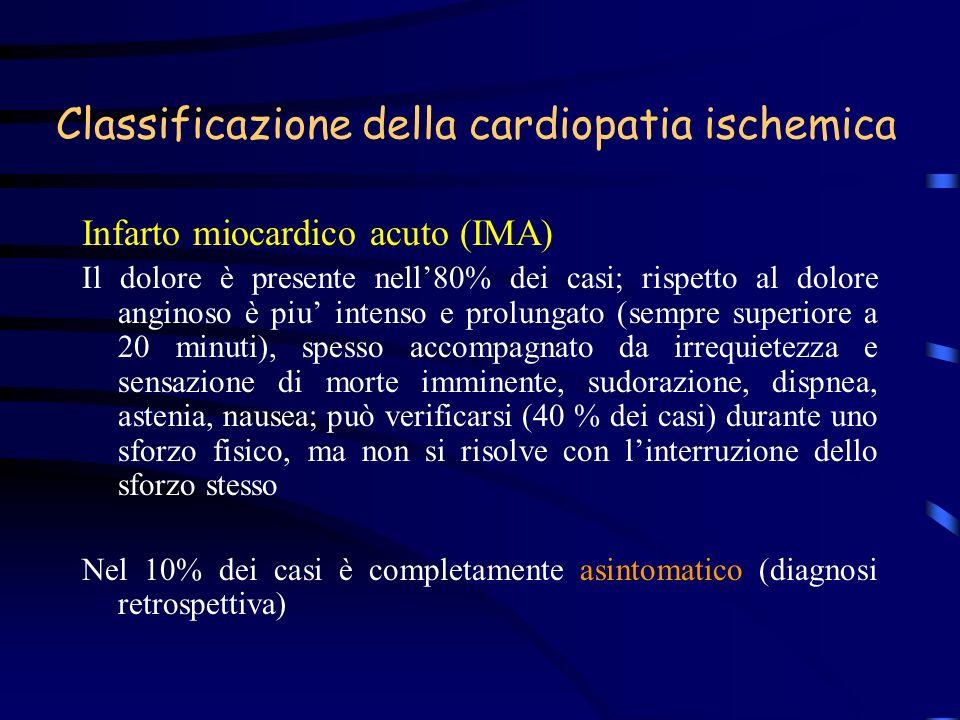 Classificazione della cardiopatia ischemica Infarto miocardico acuto (IMA) Il dolore è presente nell80% dei casi; rispetto al dolore anginoso è piu in