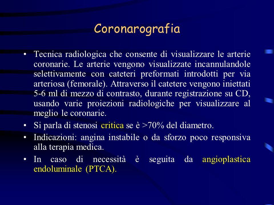 Coronarografia Tecnica radiologica che consente di visualizzare le arterie coronarie. Le arterie vengono visualizzate incannulandole selettivamente co