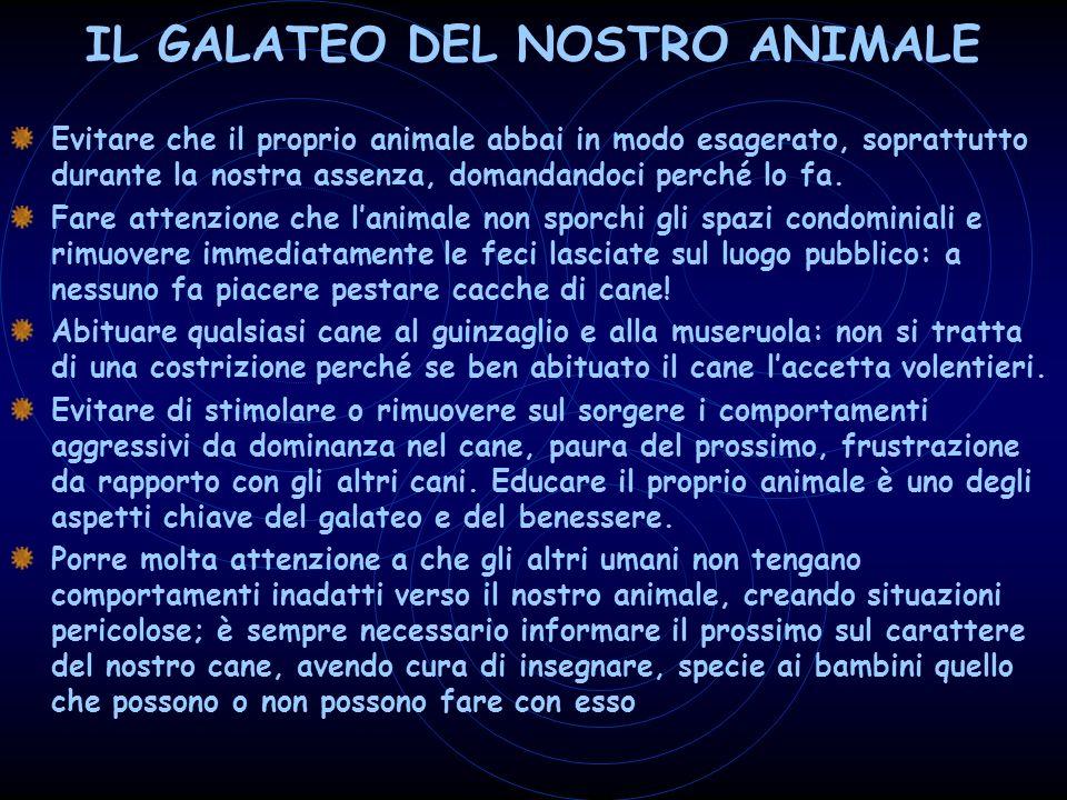 IL GALATEO DEL NOSTRO ANIMALE Evitare che il proprio animale abbai in modo esagerato, soprattutto durante la nostra assenza, domandandoci perché lo fa.