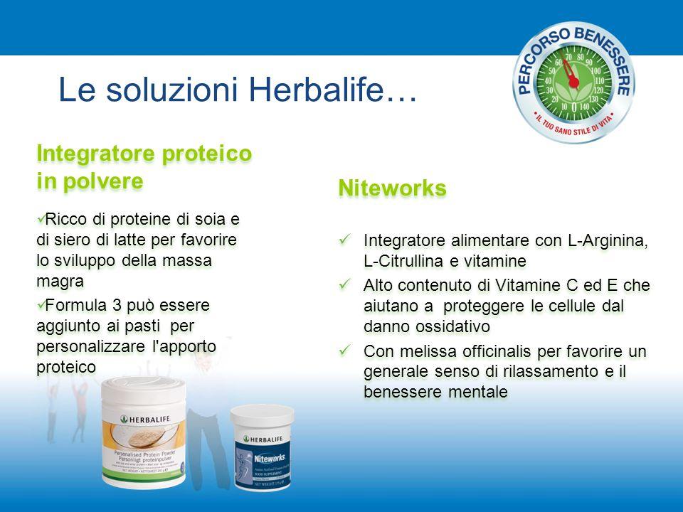 Le soluzioni Herbalife… Integratore proteico in polvere Ricco di proteine di soia e di siero di latte per favorire lo sviluppo della massa magra Formu