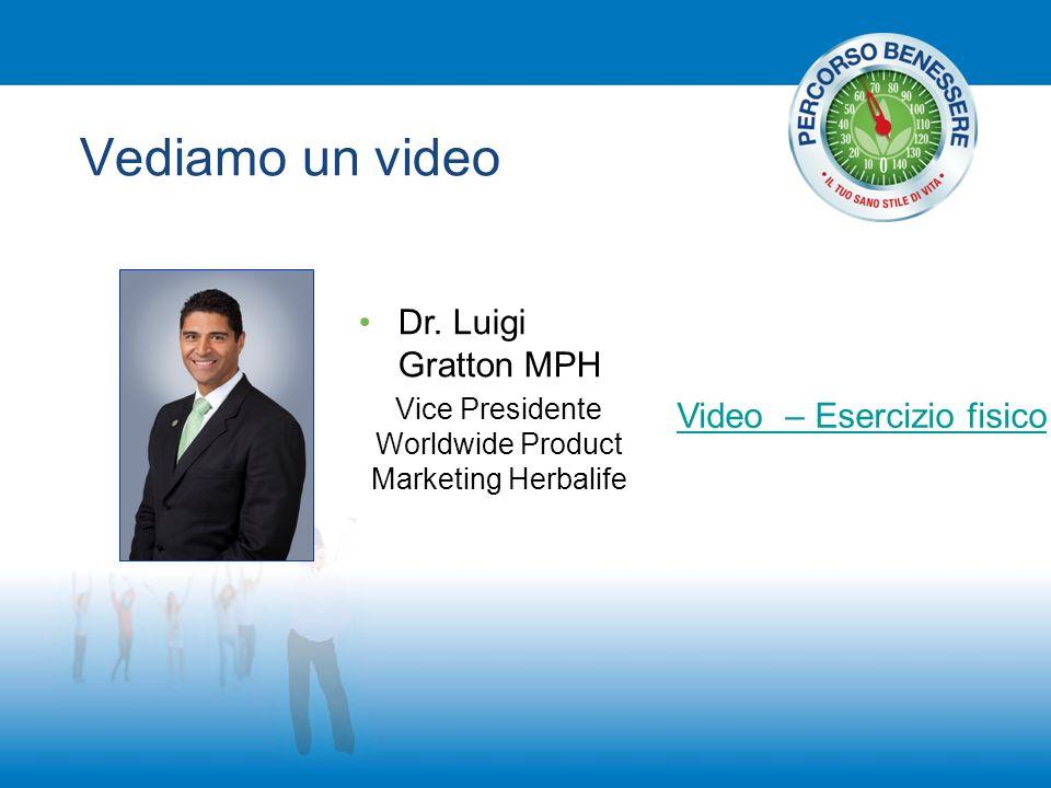 Vediamo un video Video – Esercizio fisico Dr. Luigi Gratton MPH Vice Presidente Worldwide Product Marketing Herbalife
