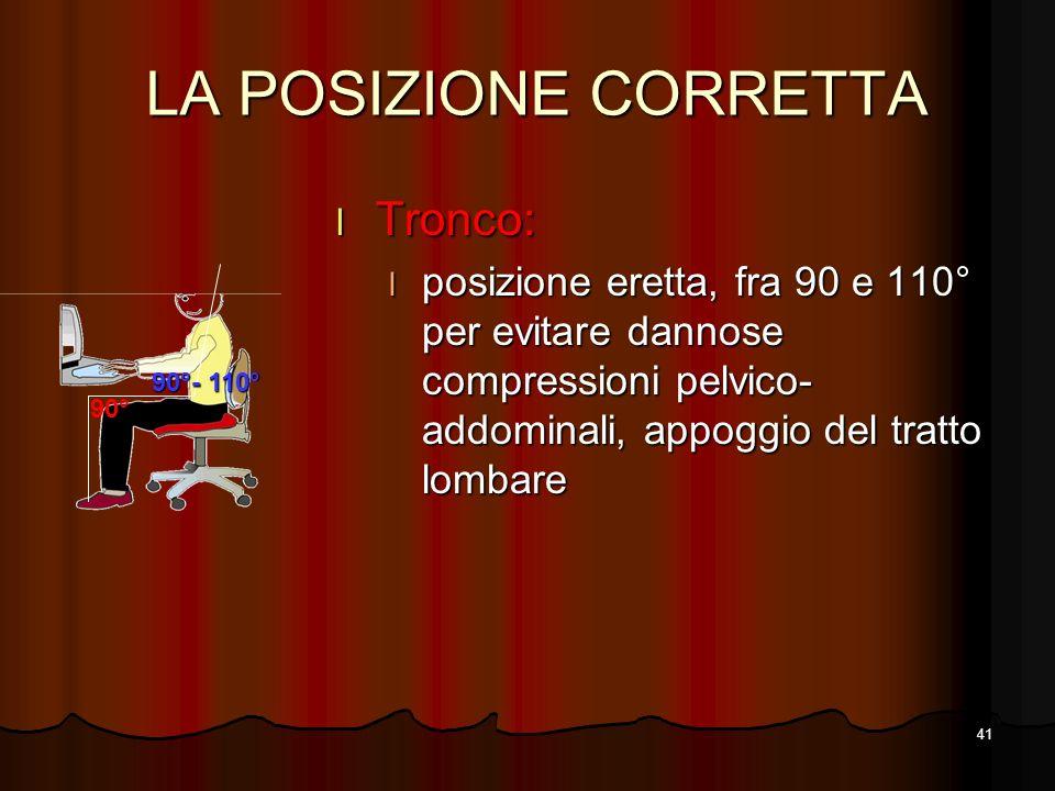 41 LA POSIZIONE CORRETTA l Tronco: l posizione eretta, fra 90 e 110° per evitare dannose compressioni pelvico- addominali, appoggio del tratto lombare