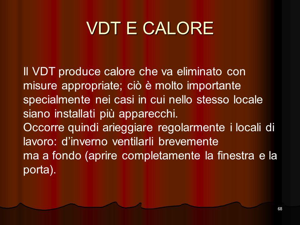 68 VDT E CALORE Il VDT produce calore che va eliminato con misure appropriate; ciò è molto importante specialmente nei casi in cui nello stesso locale