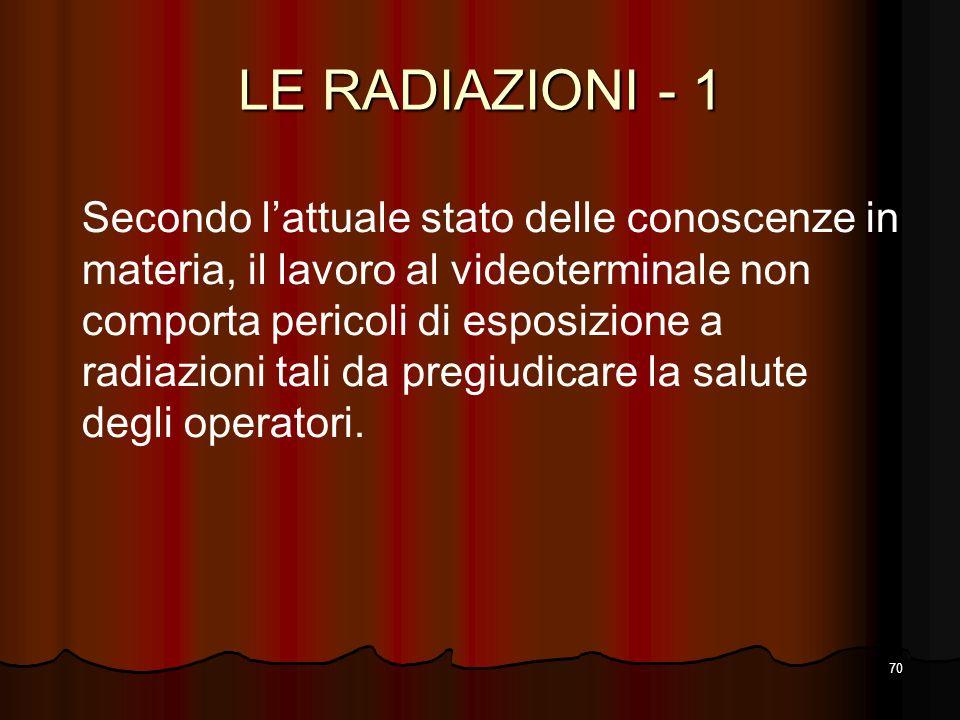 70 LE RADIAZIONI - 1 Secondo lattuale stato delle conoscenze in materia, il lavoro al videoterminale non comporta pericoli di esposizione a radiazioni