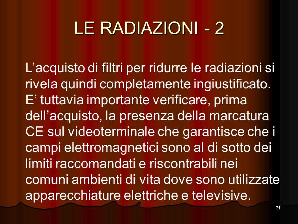 71 LE RADIAZIONI - 2 Lacquisto di filtri per ridurre le radiazioni si rivela quindi completamente ingiustificato. E tuttavia importante verificare, pr