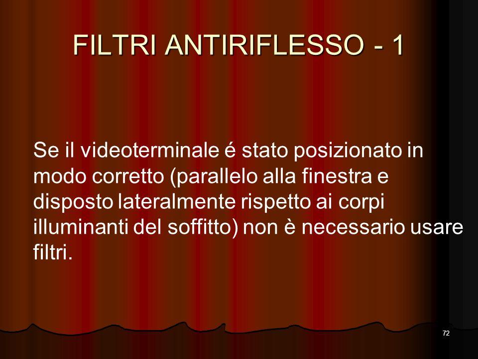 72 FILTRI ANTIRIFLESSO - 1 Se il videoterminale é stato posizionato in modo corretto (parallelo alla finestra e disposto lateralmente rispetto ai corp