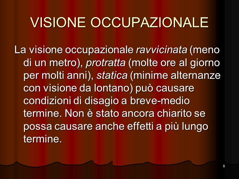 8 VISIONE OCCUPAZIONALE La visione occupazionale ravvicinata (meno di un metro), protratta (molte ore al giorno per molti anni), statica (minime alter