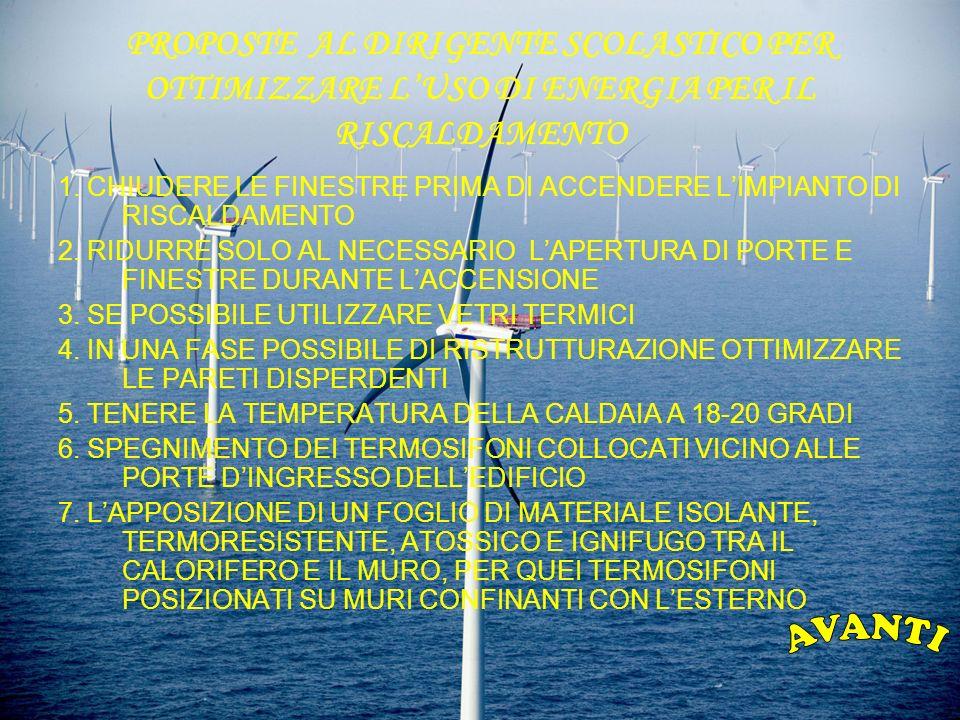 PROPOSTE AL DIRIGENTE SCOLASTICO PER OTTIMIZZARE LUSO DI ENERGIA PER IL RISCALDAMENTO 1.