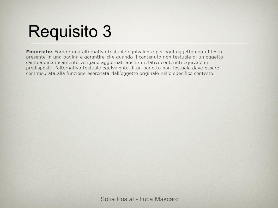 Sofia Postai - Luca Mascaro Sofia Postai (sofia@vocabola.com)sofia@vocabola.com Requisito 3 Enunciato: Fornire una alternativa testuale equivalente pe