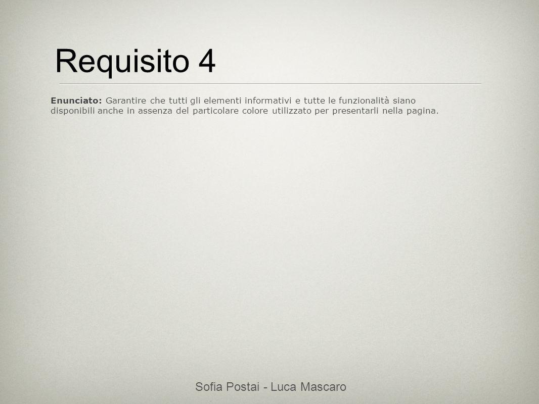 Sofia Postai - Luca Mascaro Sofia Postai (sofia@vocabola.com)sofia@vocabola.com Requisito 4 Enunciato: Garantire che tutti gli elementi informativi e
