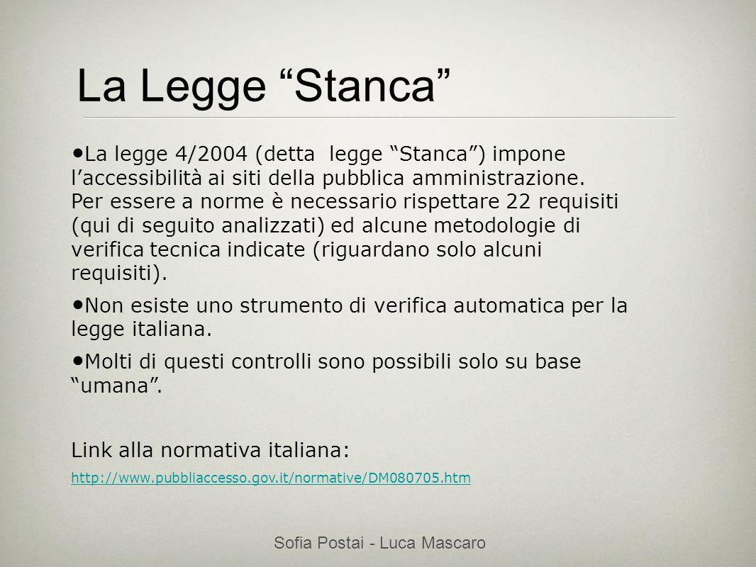 Sofia Postai - Luca Mascaro Sofia Postai (sofia@vocabola.com)sofia@vocabola.com La Legge Stanca La legge 4/2004 (detta legge Stanca) impone laccessibi