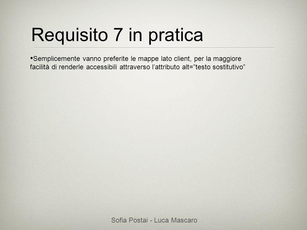 Sofia Postai - Luca Mascaro Sofia Postai (sofia@vocabola.com)sofia@vocabola.com Requisito 7 in pratica Semplicemente vanno preferite le mappe lato cli