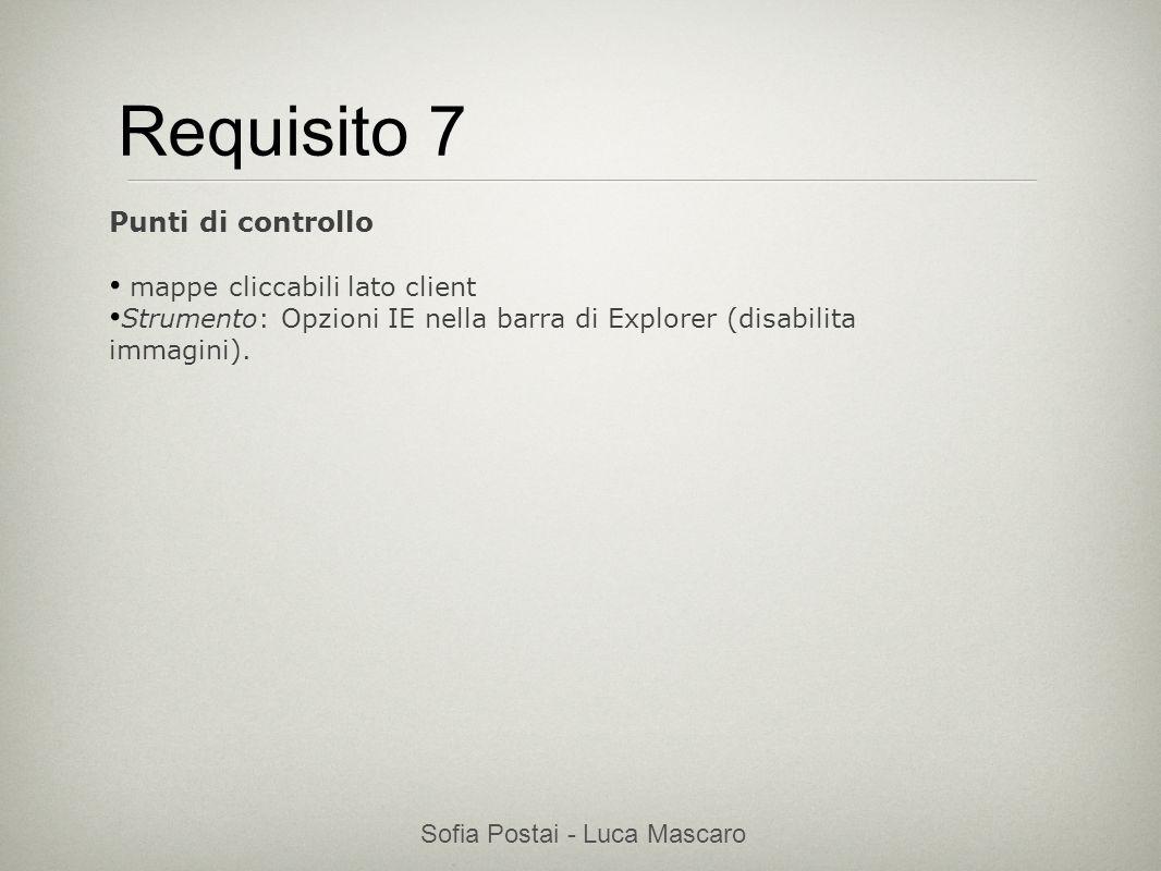 Sofia Postai - Luca Mascaro Sofia Postai (sofia@vocabola.com)sofia@vocabola.com Requisito 7 Punti di controllo mappe cliccabili lato client Strumento:
