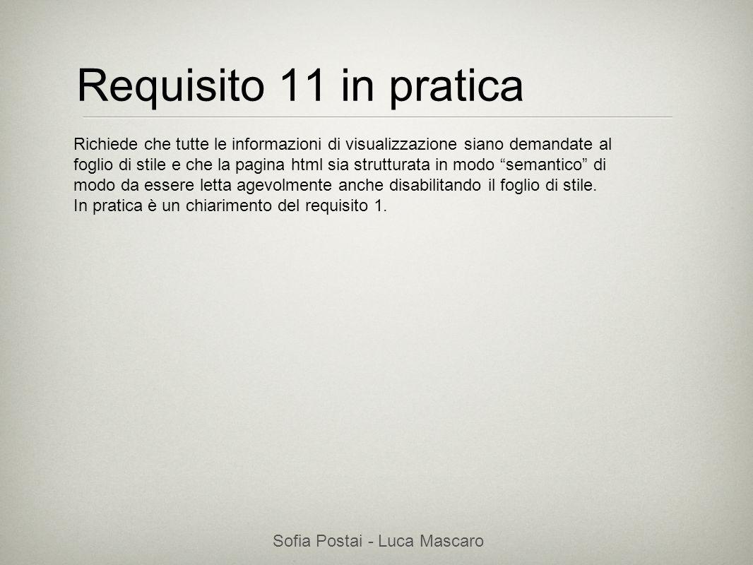 Sofia Postai - Luca Mascaro Sofia Postai (sofia@vocabola.com)sofia@vocabola.com Requisito 11 in pratica Richiede che tutte le informazioni di visualiz