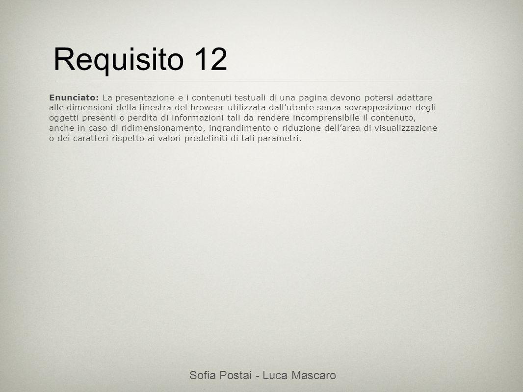 Sofia Postai - Luca Mascaro Sofia Postai (sofia@vocabola.com)sofia@vocabola.com Requisito 12 Enunciato: La presentazione e i contenuti testuali di una